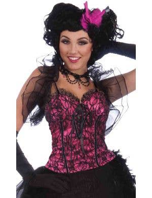 Burlesque Pink and Black Women's Corset Costume Accessory