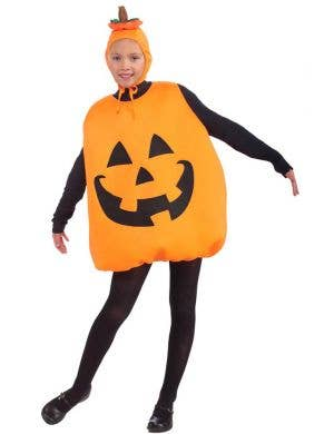 Kid's Orange Jack O Lantern Pumpkin Halloween Costume Front