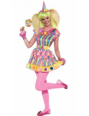 Pink Girl's Circus Clown Funny Fancy Dress Costume Front