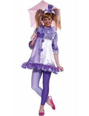 Teen Girl's Purple Circus Clown Fancy Dress Costume Front