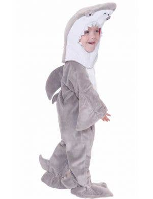 Toddler Boy's Grey Shark Animal Onesie Costume Front View