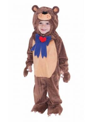 Toddler's Brown Teddy Bear Onesie Costume Front View