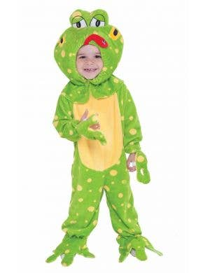 Toddler's Cute Green Frog Onesie Costume Front View