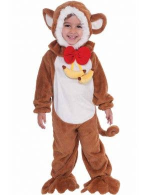 Kid's Toddler Brown Monkey Jungle Animal Costume Front View