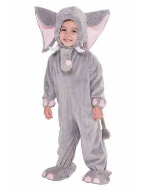 Toddler's Grey Elephant Animal Onesie Costume Front View