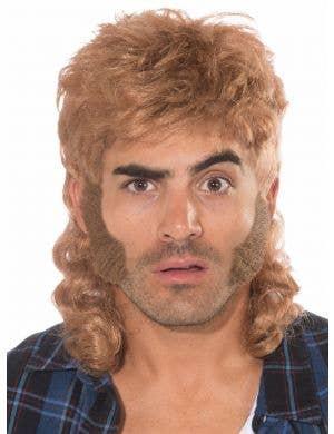 80's Light Brown Mullet Men's Costume Wig