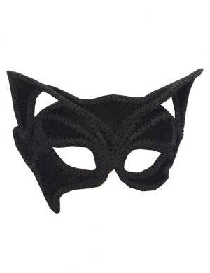Half Black Cat Masquerade Mask on Glasses