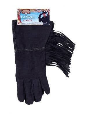 Cowboy Fringed Black Costume Gloves