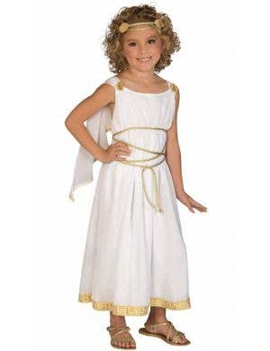 558b16bc18e Girl s Greek White Toga Costume Front View. Add to Wish List. Roman Goddess  Girls Fancy Dress Costume