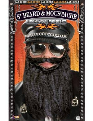 Bad Biker Black Beard and Moustache Costume Accessory