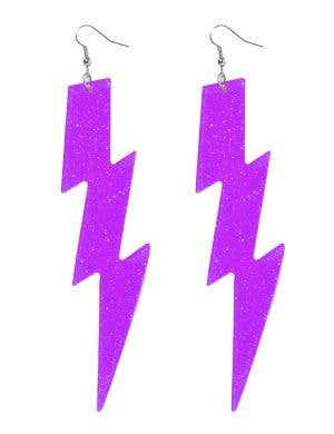 Purple Lightning Bolt 80's Fluro Earrings Costume Jewellery Main Image