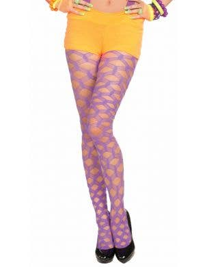 Club Candy Purple Wide Fishnet Pantyhose