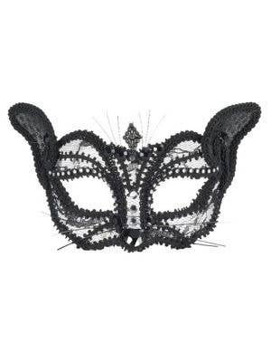 Lace Cat Masquerade Mask on Glasses - Black