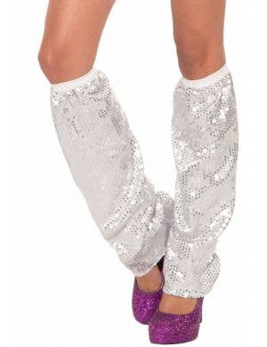 Club Dazzle Silver Sequin Adults Leg Warmers