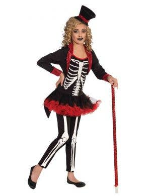 Girl's Day of the Dead Skeleton Tutu Fancy Dress Costume Front
