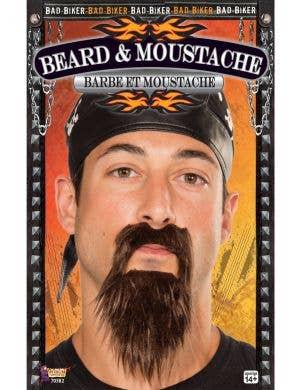 BLACK Bad Biker Beard and Moustache Costume Accessory