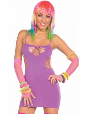 Club Candy Purple Fishnet Rave Costume Dress