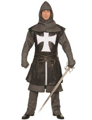 Deluxe Black Medieval Knight Men's Fancy Dress Costume