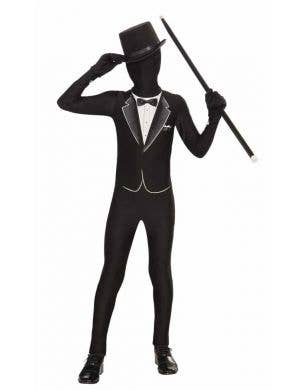 Boy's Tuxedo Lycra Skin Suit Fancy Dress Costume Front View