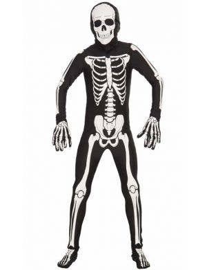 Kid's Skeleton Lycra Skin Suit Halloween Costume Front View