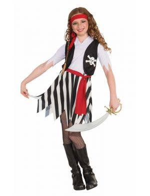 Pirate Girl's Buccaneer Fancy Dress Costume Front View
