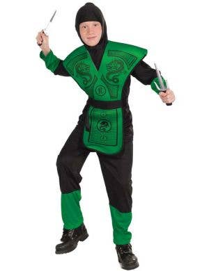 Green and Black Boy's Ninja Book Week Costume Front View