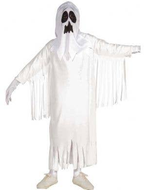 kids white scary ghost costume front view