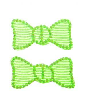 Club Candy Neon Green Hair Cling Bow