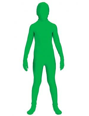Teen Boy's Green Lycra Skin Suit Costume Front View