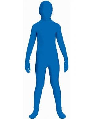 Boy's Teenage Blue Lycra Skin Suit Costume Front View