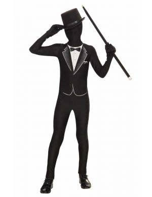 Teen Boy's Black Tuxedo Lycra Skin Suit Costume Front View