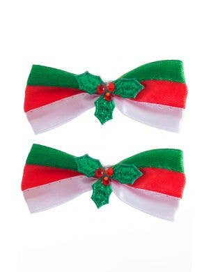 Red, Green and White Striped Christmas Hair Bows