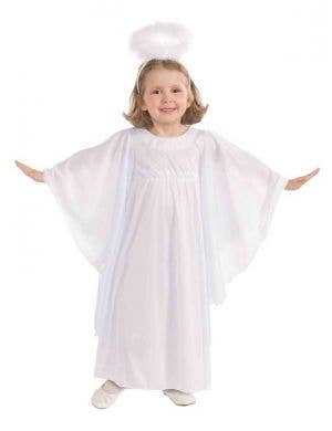 White Angel Girl's Fancy Dress Costume Front View