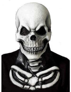 Full Face Skeleton Latex Halloween Mask with Attached Chest Piece