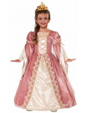 Rose Pink Girl's Princess Fancy Dress Medieval Costume Front