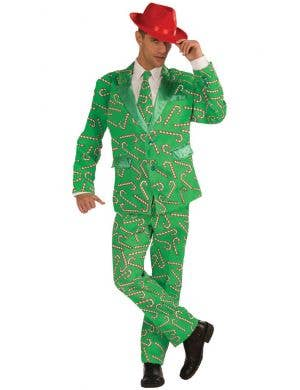 Candy Cane Print Men's Christmas Suit Costume