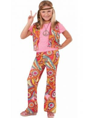 Girl's Retro Hippy Pink 1970's Fancy Dress Costume Front