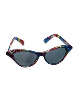 Cat Eye Rainbow Leopard Print 80's Glasses