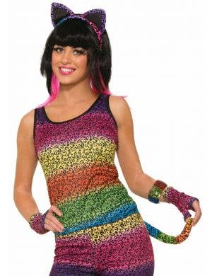 Party Animal Women's Rainbow Leopard Print Cat Accessory Kit