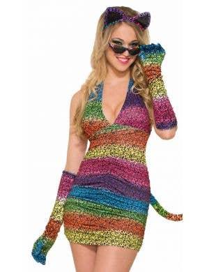 Long Velvet Rainbow Leopard Print 80's Costume Gloves