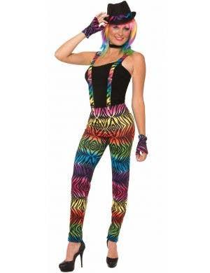 Party Animal Rainbow Zebra Strip Women's Leggings