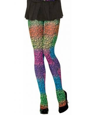 Party Animal Rainbow Leopard Print 80's Pantyhose
