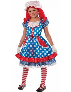 Girl's Blue Polka Dot Raggedy Ann Doll Costume Front