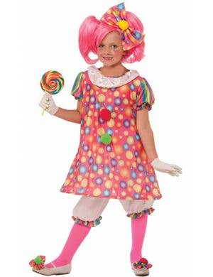 Girl's Pink Polka Dot Circus Clown Costume Front View