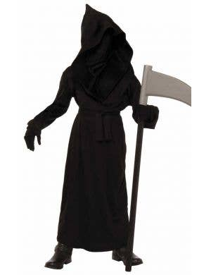 Kid's Grim Reaper Black Robe Costume Front View