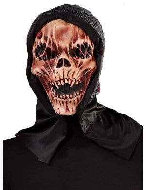 Halloween Latex Skull Mask with Attached Black Hood