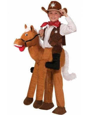 Boys Cowboy Horse Wild West Costume Front View