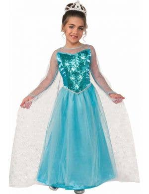 Elsa Girl's Frozen Ice Queen Blue Fancy Dress Front View