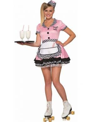 Retro 1950's Women's Pink Roller Waitress Costume Front View