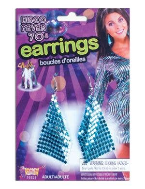 Disco Fever Blue 1970s Costume Accessory Earrings